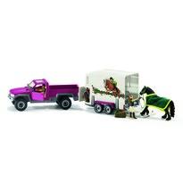 Schleich Pick-up pótkocsival és lóval, 51,5 cm