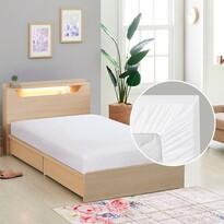 Cearceaf de pânză cu elastic, alb, 90 x 200 cm
