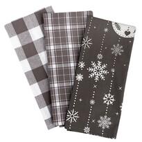 Vánoční utěrka Vánoční ozdoby šedá, 45 x 70 cm, sada 3 ks