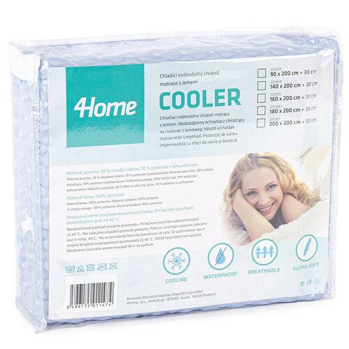 4Home Wodoodporny ochraniacz chłodzący na materac z lamówką Cooler, 160 x 200 cm + 30 cm