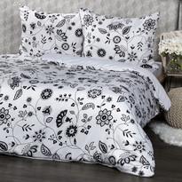 Flowers pamut ágynemű, fekete-fehér, 140 x 200 cm, 70 x 90 cm