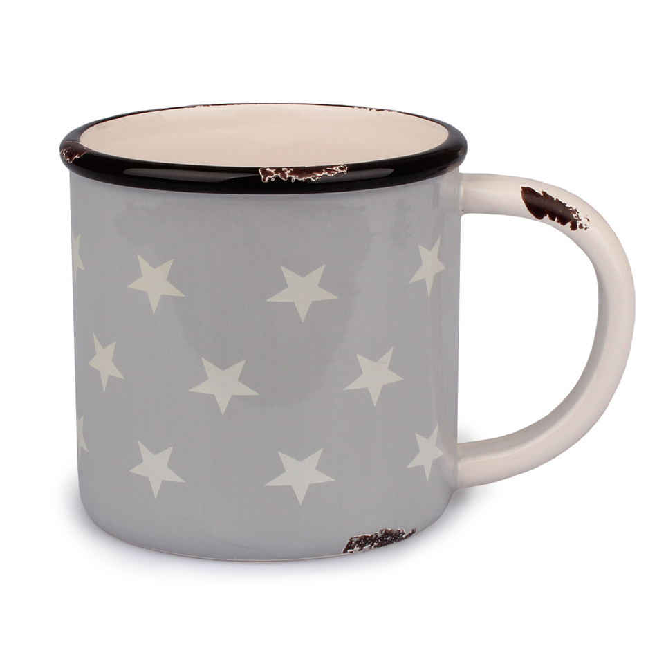 Dakls Keramický hrnček Hviezdy 400 ml, sivá