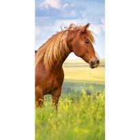 Barna lovas törölköző, 70 x 140 cm