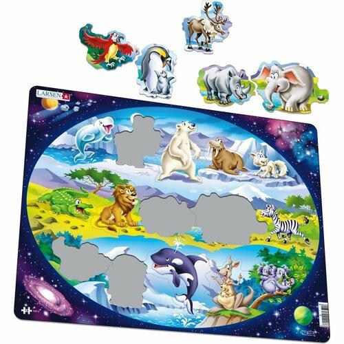 Larsen Puzzle Zvieratá vo svete, 15 dielikov