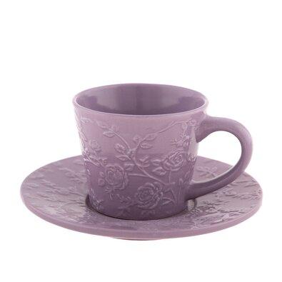 Ceașcă ceramică cu farfurioară, floare violet, 220 ml