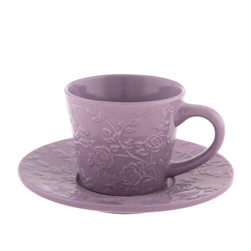 Kerámi csésze és csészealj  lila virág, 180 ml
