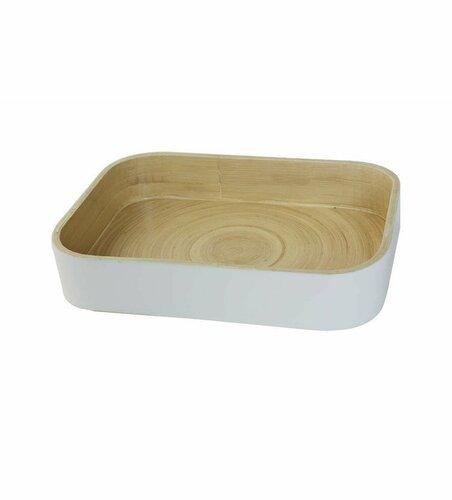 Bambusový organizér na kuchyňské doplňky Compactor 31.5. X 22.5 X 6 cm, lesklý lak Bílá