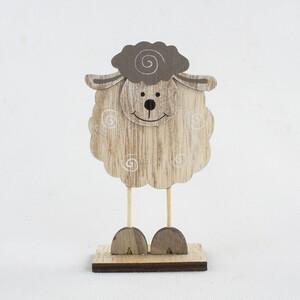 Dekorační ovečka hnědá, 15,5 cm