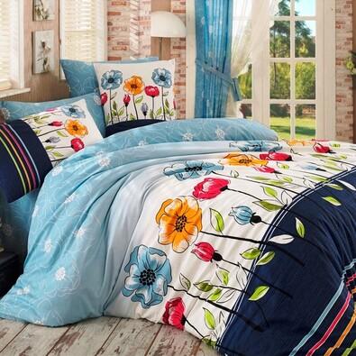 Bavlněné povlečení Amanda modrá, 140 x 200 cm, 70 x 90 cm