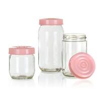 Set de doze din sticlă Banquet Linzi, 3 buc., roz