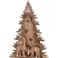 Decorațiune de Crăciun Koopman Christmas tree with Reindeers, din lemn, 38,5 cm