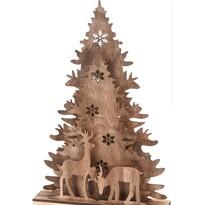 Koopman Vánoční dřevěná dekorace Christmas tree  with Reindeers, 38,5 cm