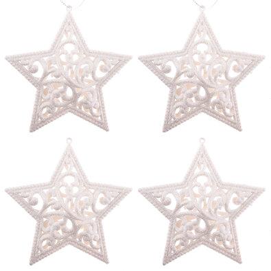 Sada závesných ozdôb Shiny Hviezda biela, 4 ks