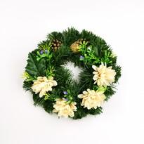 Dušičkový veniec s bielymi ružami, 25 cm