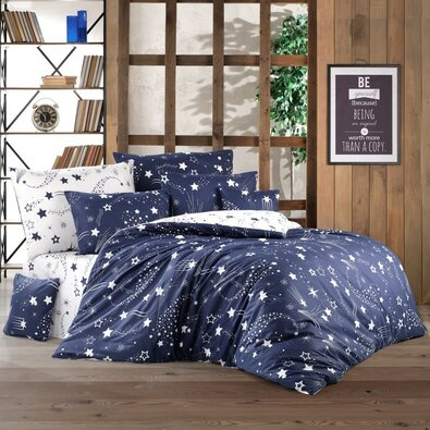 Bavlnené obliečky Galaxy modrá, 220 x 200 cm, 2 ks 70 x 90 cm