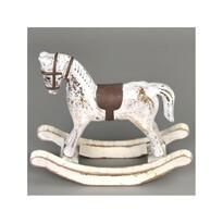 Dřevěná dekorace Houpací kůň 13 x 11 cm, bílá