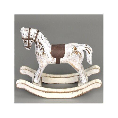 Drevená dekorácia Hojdací kôň 13 x 11 cm, biela
