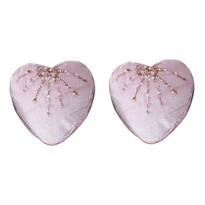 Altom Sada zamatových vianočných ozdôb Shiny Hearts 2 ks, ružová