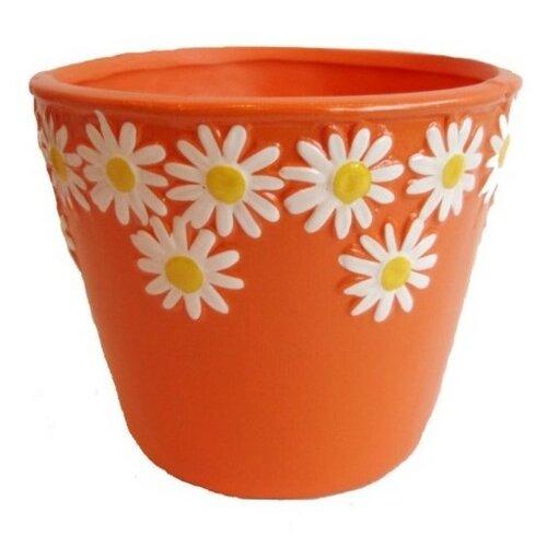 Keramický obal na květináč Kopretiny oranžová, pr. 12 cm