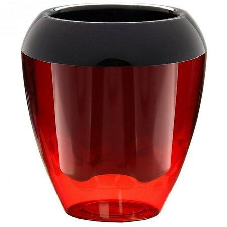 Plastia Calimera plastový květináč samozavlažovací černá a červená