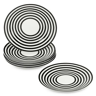 6dílná sada mělkých talířů Černé kruhy