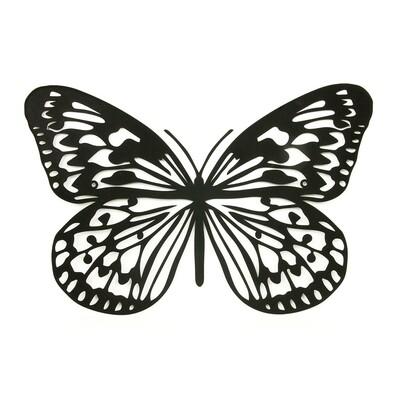 Pillangó fali fém dekoráció, fekete
