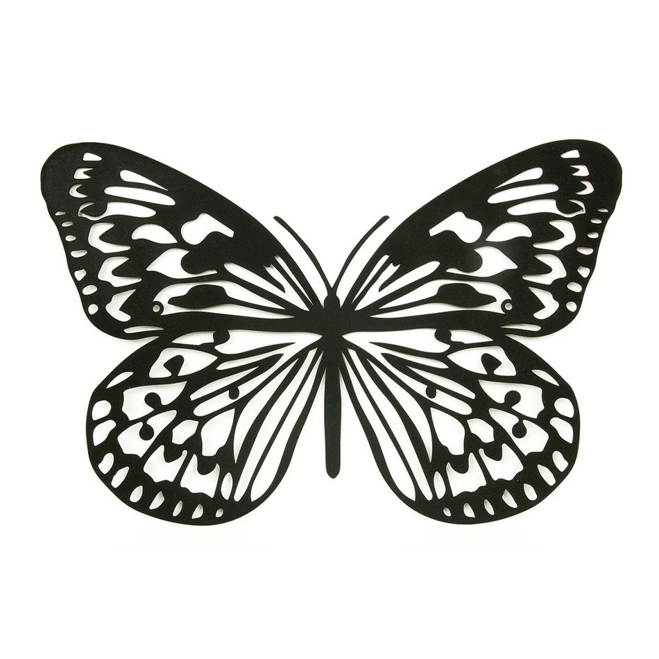Kovová dekorace na zeď Motýl, černá