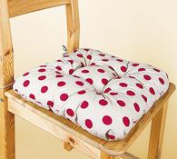 prošívané podsedáky na židle, 40 x 40 cm, sada 2 k, bílá + červená, 40 x 40 cm