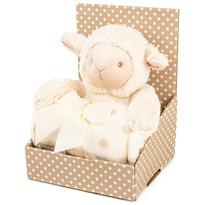 Pluszowa owieczka 28 cm z kocykiem polarowym 74 x 100 cm, opakowanie upominkowe