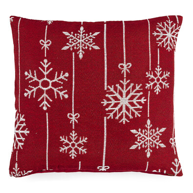Povlak na polštářek Gobelín Vánoční vločka červená, 40 x 40 cm