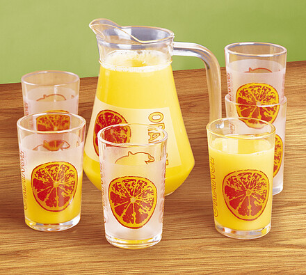 Sada džbánu a sklenic Orange, oranžová