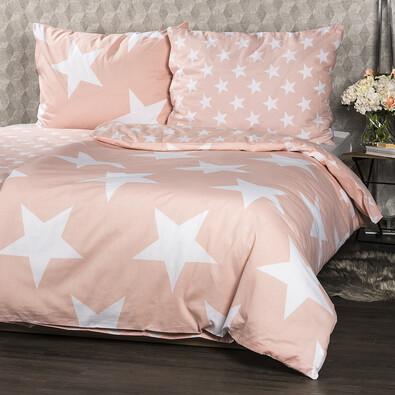 New Stars pamut ágynemű, lazac, 140 x 200 cm, 70 x 90 cm