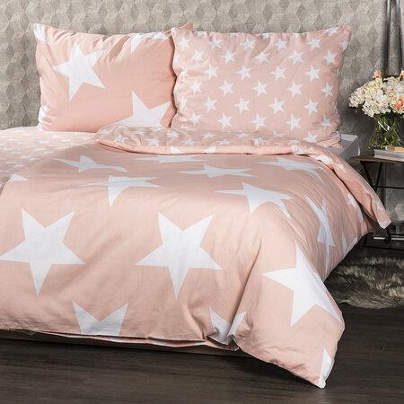 Lenjerie de pat din bumbac New Stars somon, 140 x 200 cm, 70 x 90 cm