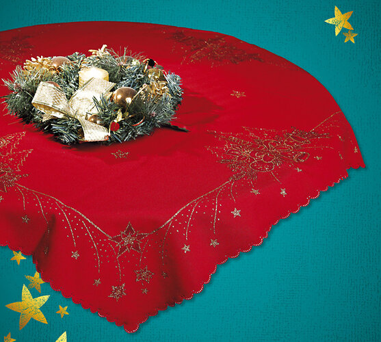 Vianočný obrus s potlačou, červená, 42 x 85 cm