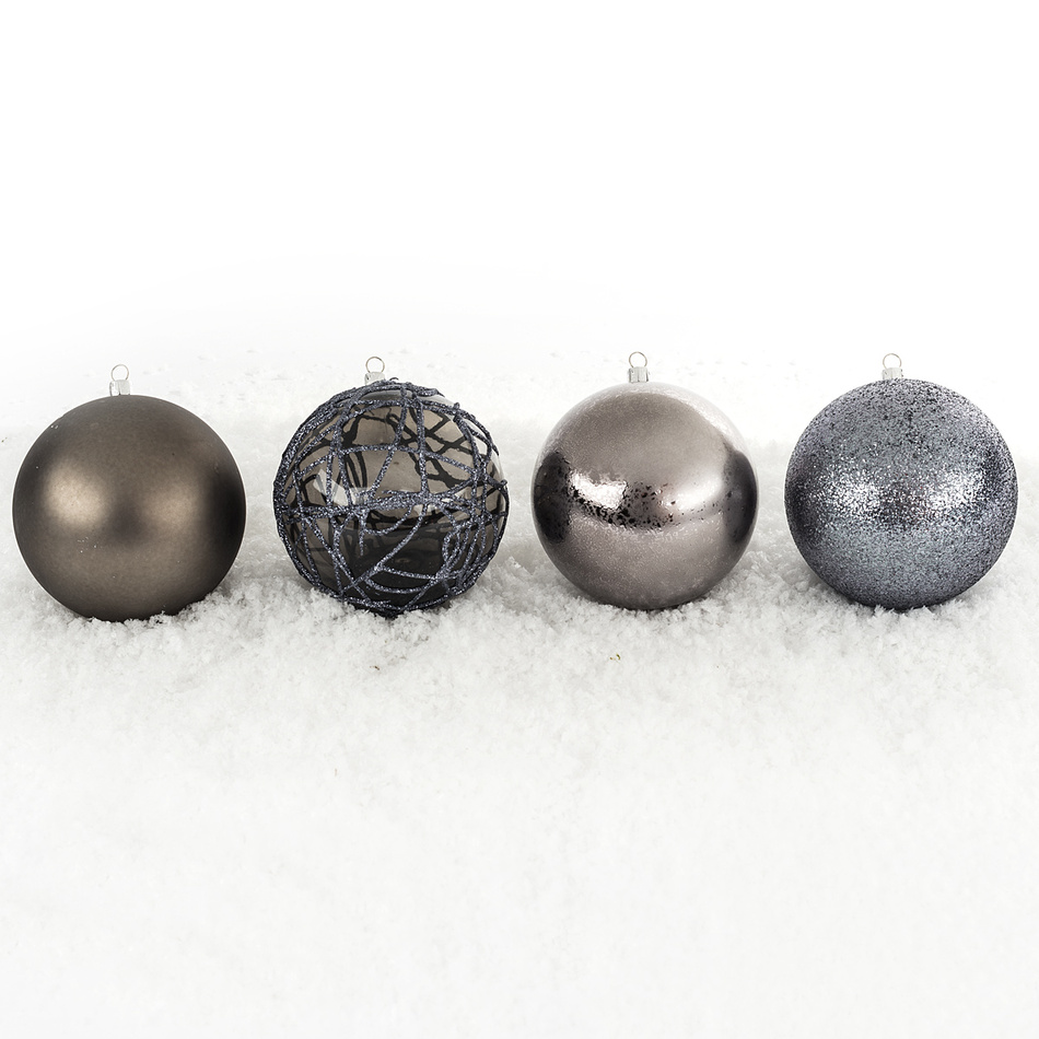 Vianočné gule mix pr. 10 cm, strieborná, HTH