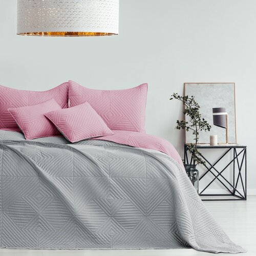 AmeliaHome Přehoz na postel Softa palepink - pearlsilver, 220 x 240 cm