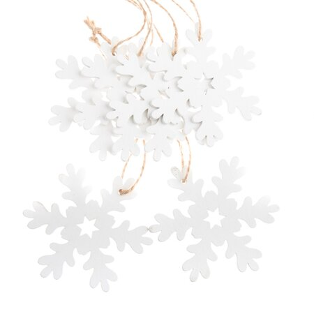 Sada vánočních dřevěných ozdob Vločka bílá, 6 ks