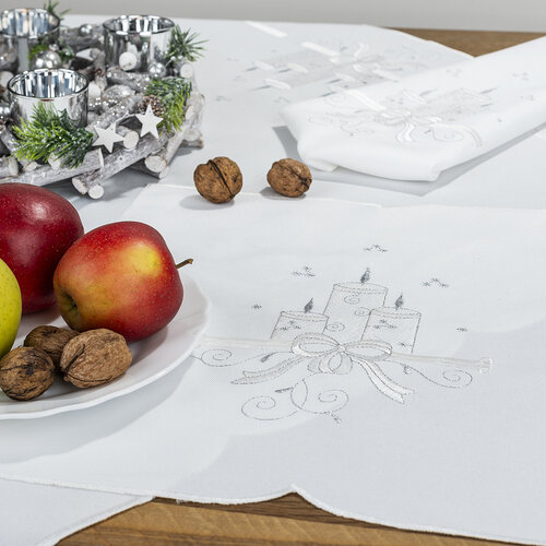 Vánoční ubrus Svíčky, 35 x 35 cm
