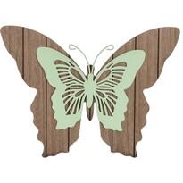 Drevená závesná dekorácia Motýlie mámenie, zelená