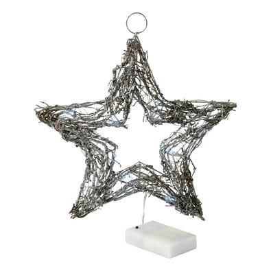 Proutěná hvězda svítící, 20 LED, stříbrná, stříbrná