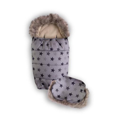 Babymatex Fusak s rukávníkem hvězdičky šedá, 100 cm