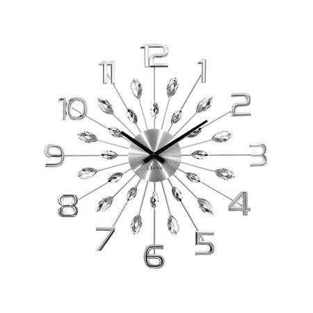 Lavvu LCT1190 Nástěnné hodiny Crystal Sun 49 cm, stříbrná