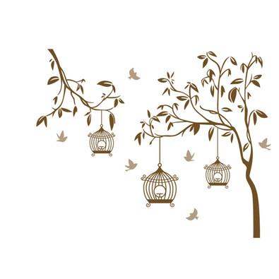 Samolepicí dekorace ptáčci v kleci