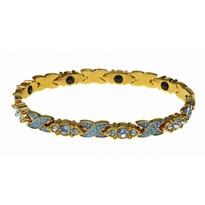 Bransoletka magnetyczna z kryształkami, złoty