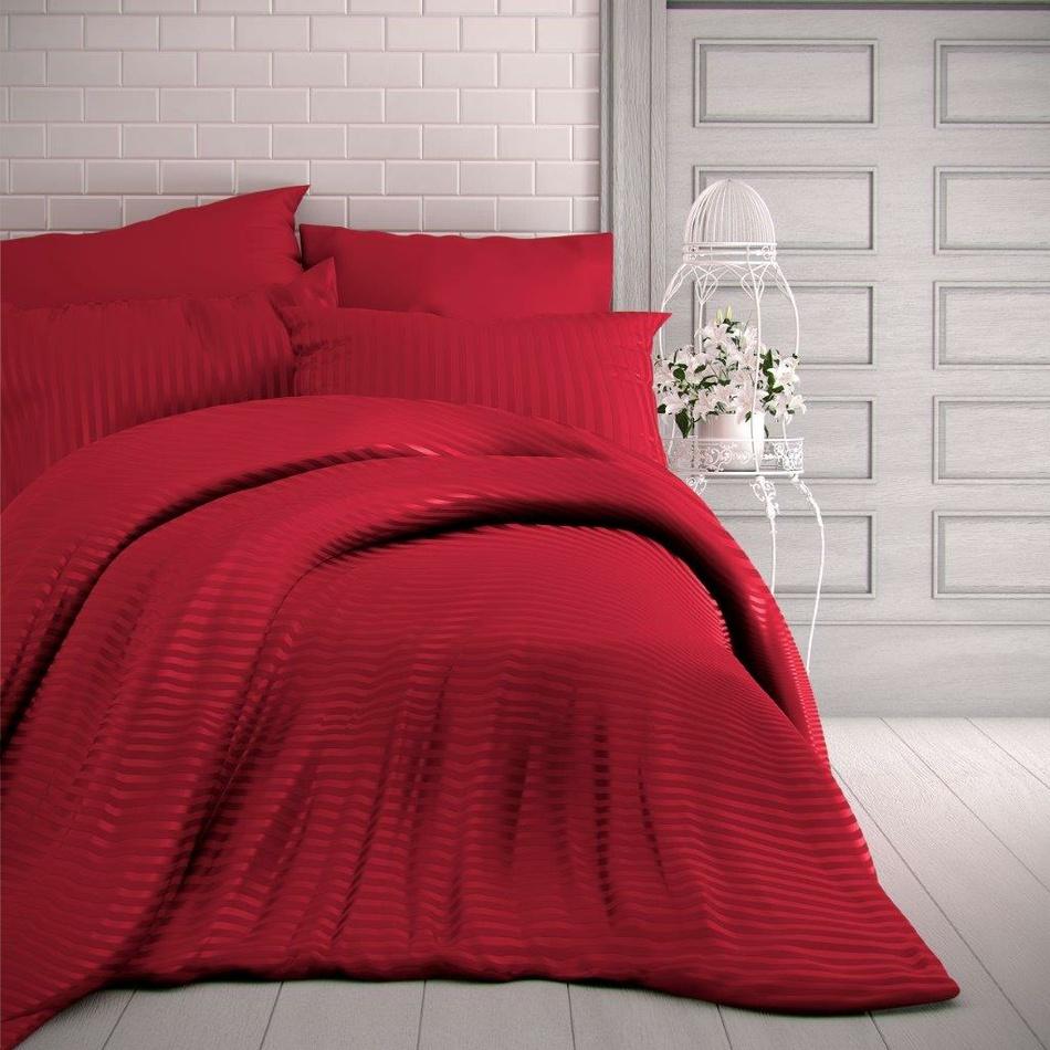 Kvalitex Saténové obliečky Stripe červená, 240 x 220 cm, 2 ks 70 x 90 cm