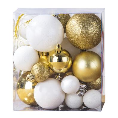 Vánoční koule 31 ks bílá a zlatá