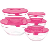 5-częściowy zestaw misek szklanych  z pokrywą,różowy
