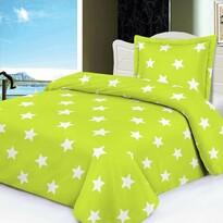 Stars mikroplüss ágynemű, zöldcitrom színű, 140 x 200 cm, 70 x 90 cm