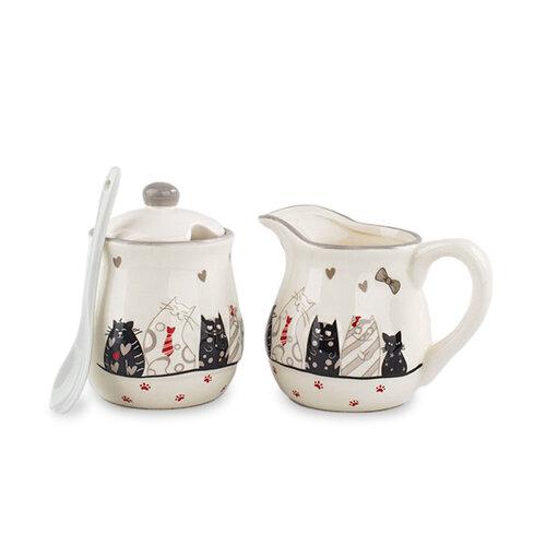Keramická mlékovka a cukřenka Kočky