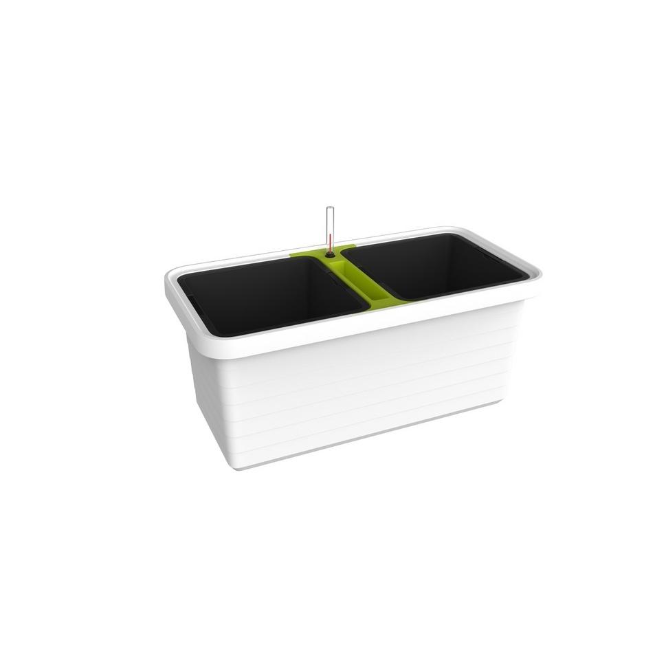 Plastia Samozavlažovací truhlík Berberis DUO, bílá + zelený příčník